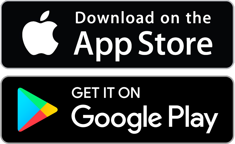 App Store, Google Play icons